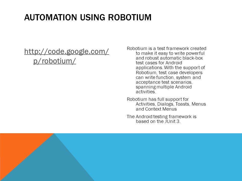 Automation using robotium