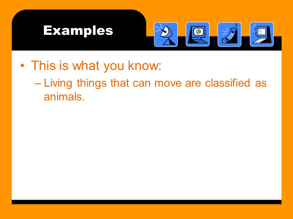 Examples This is what you know: