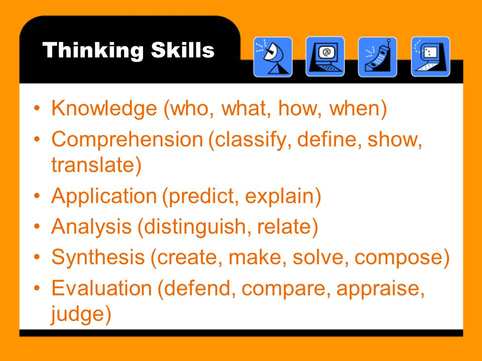 Thinking Skills Knowledge (who, what, how, when) Comprehension (classify, define, show, translate)