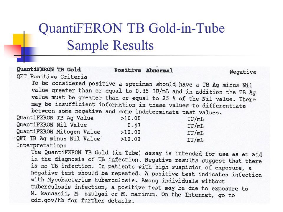 QuantiFERON TB Gold-in-Tube Sample Results