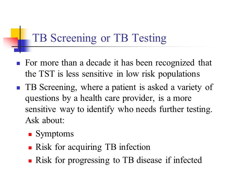 TB Screening or TB Testing