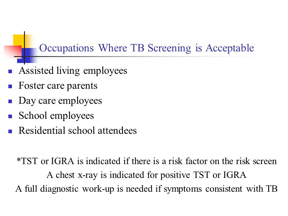 Occupations Where TB Screening is Acceptable