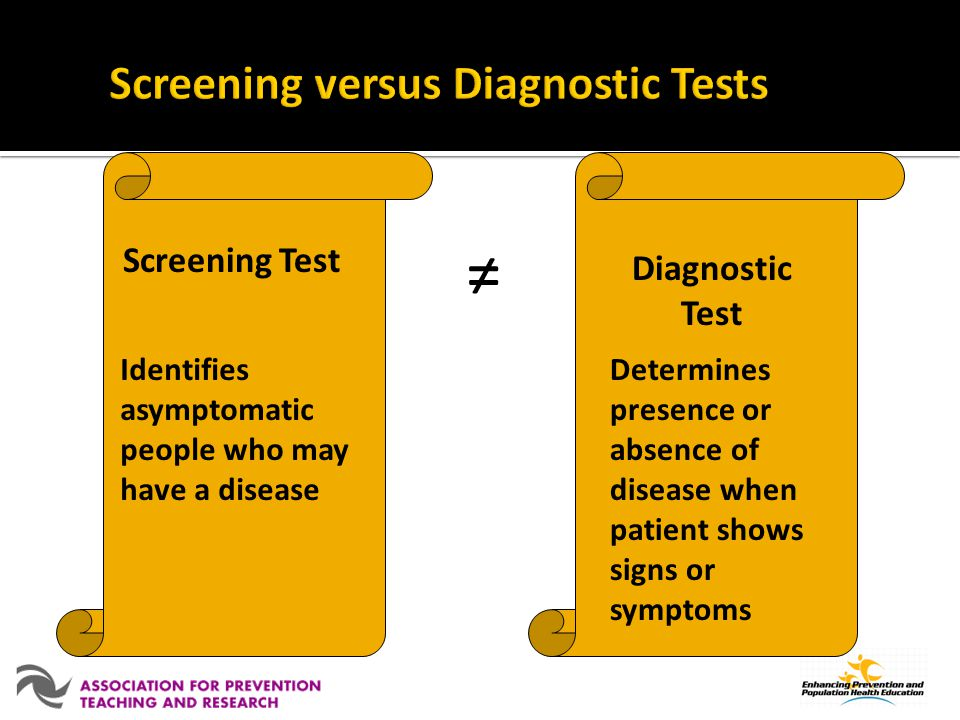 Screening versus Diagnostic Tests