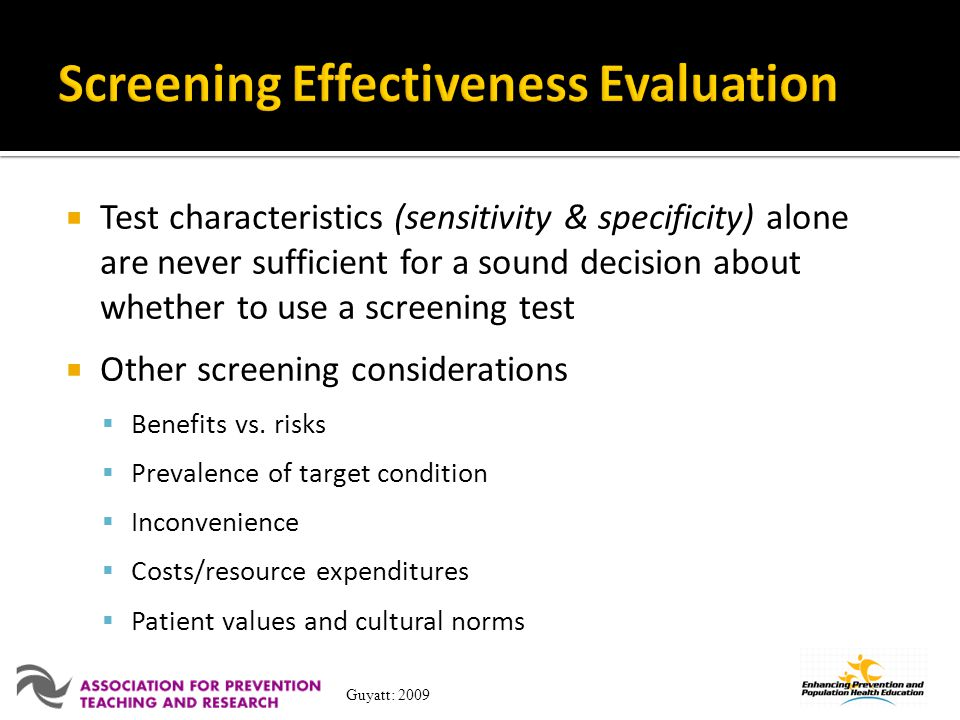 Screening Effectiveness Evaluation