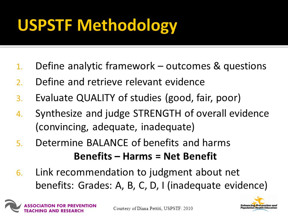 USPSTF Methodology Define analytic framework – outcomes & questions