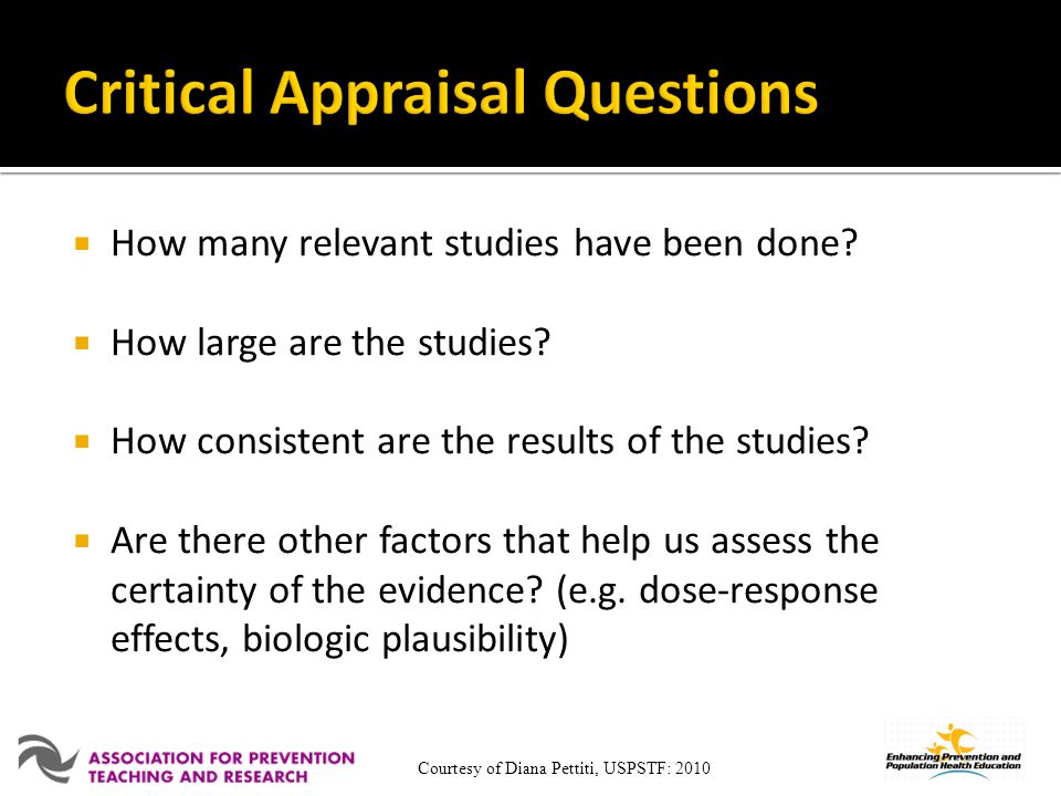 Critical Appraisal Questions