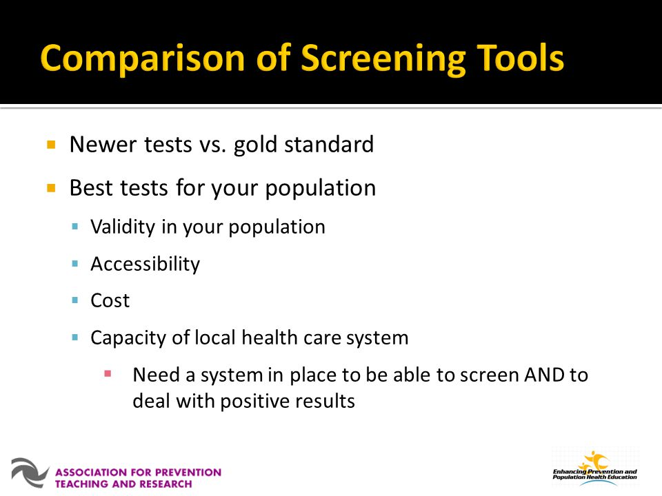 Comparison of Screening Tools