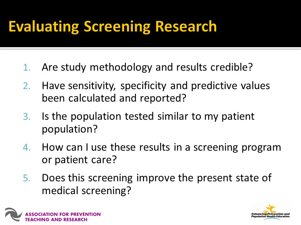 Evaluating Screening Research