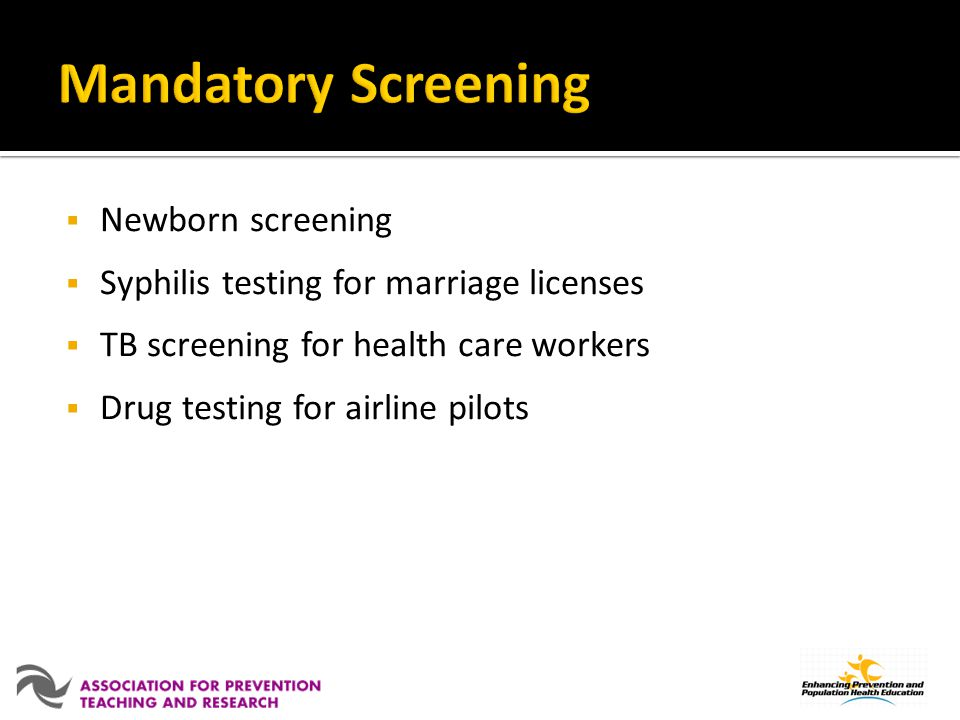 Mandatory Screening Newborn screening