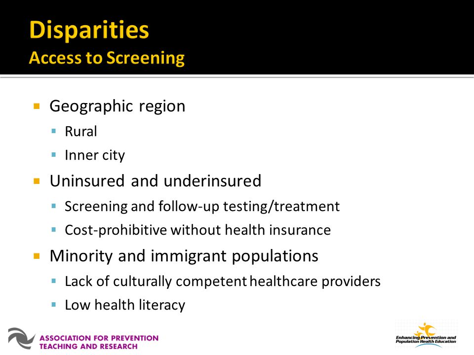 Disparities Access to Screening