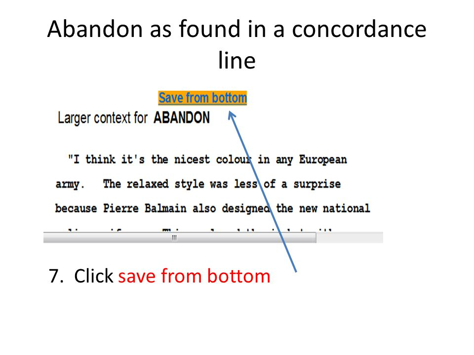 Abandon as found in a concordance line