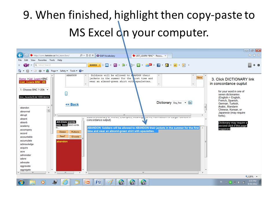 9. When finished, highlight then copy-paste to MS Excel on your computer.