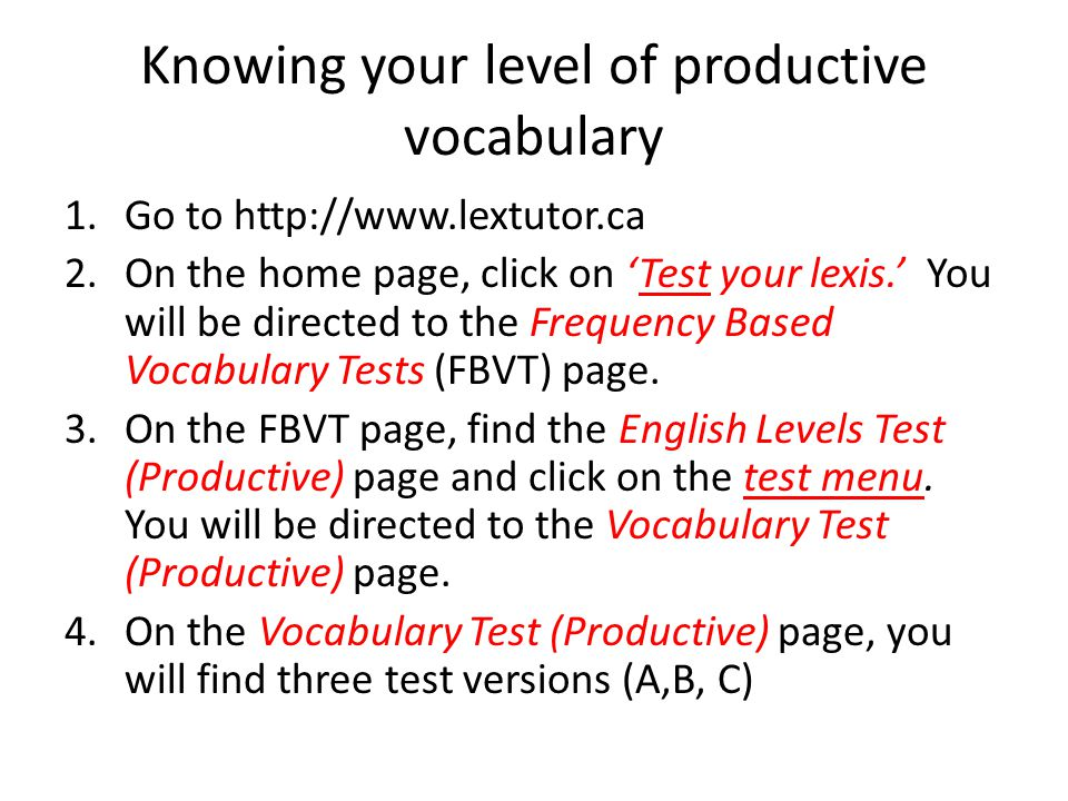 Knowing your level of productive vocabulary