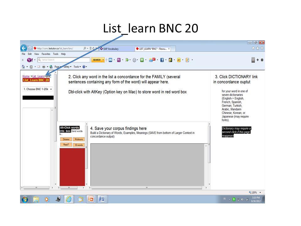 List_learn BNC 20