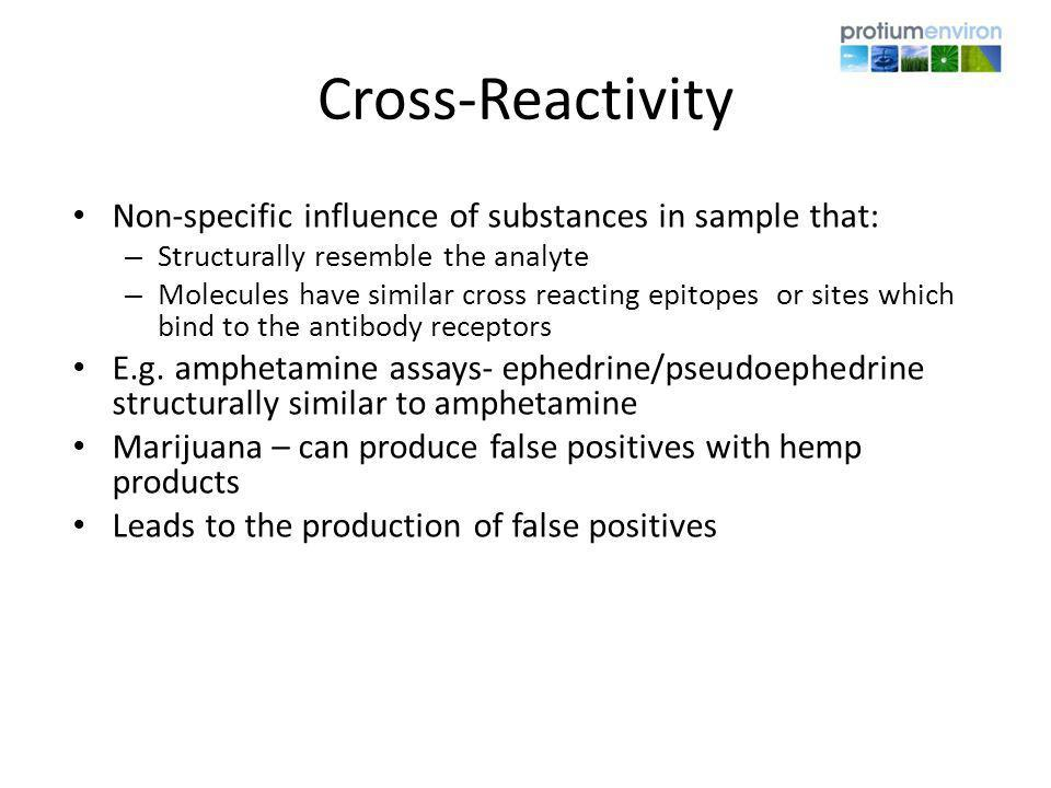 Cross-Reactivity Non-specific influence of substances in sample that: