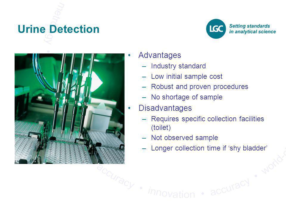 Urine Detection Advantages Disadvantages Industry standard
