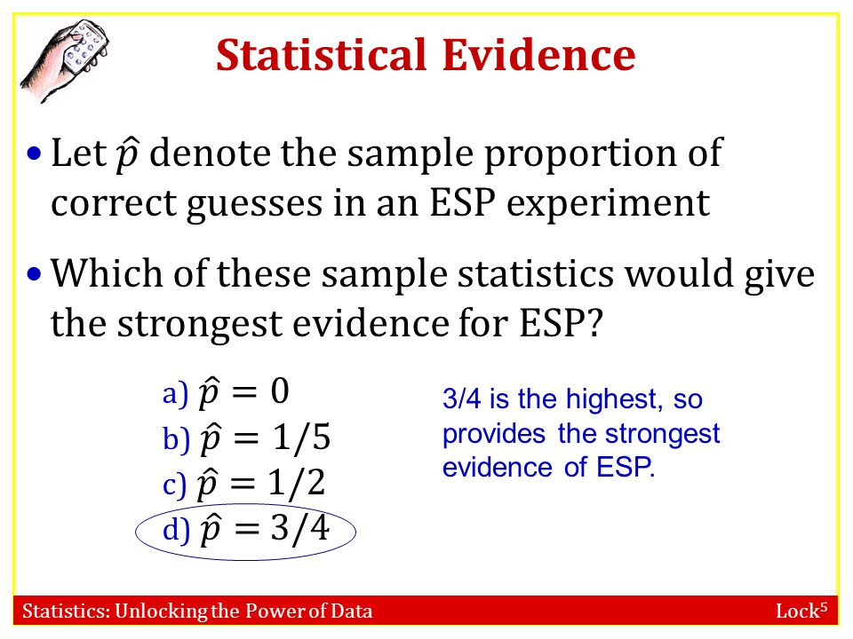 Statistical Evidence Let 𝑝 denote the sample proportion of correct guesses in an ESP experiment.