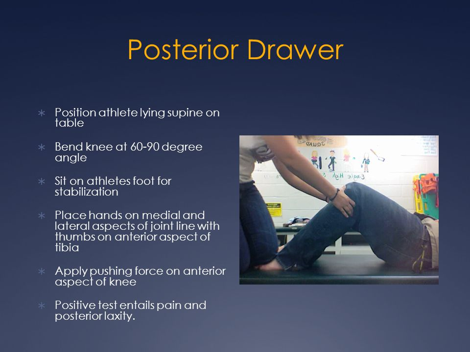 Posterior Drawer Position athlete lying supine on table
