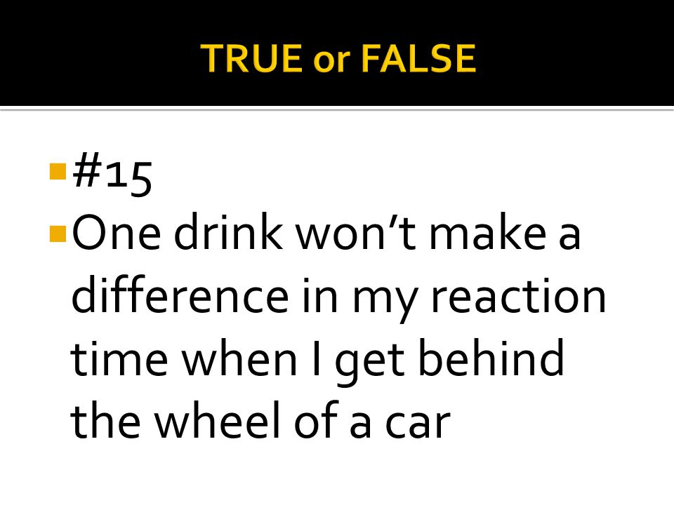 TRUE or FALSE #15.