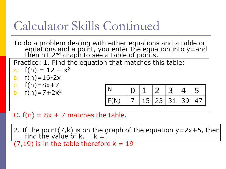 Calculator Skills Continued