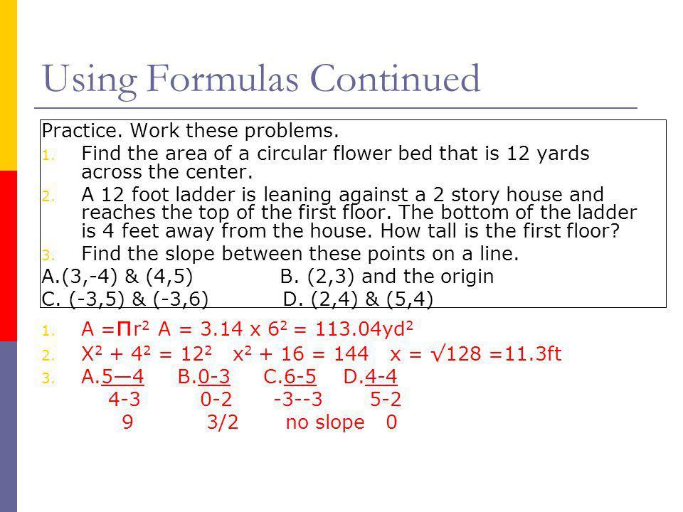 Using Formulas Continued