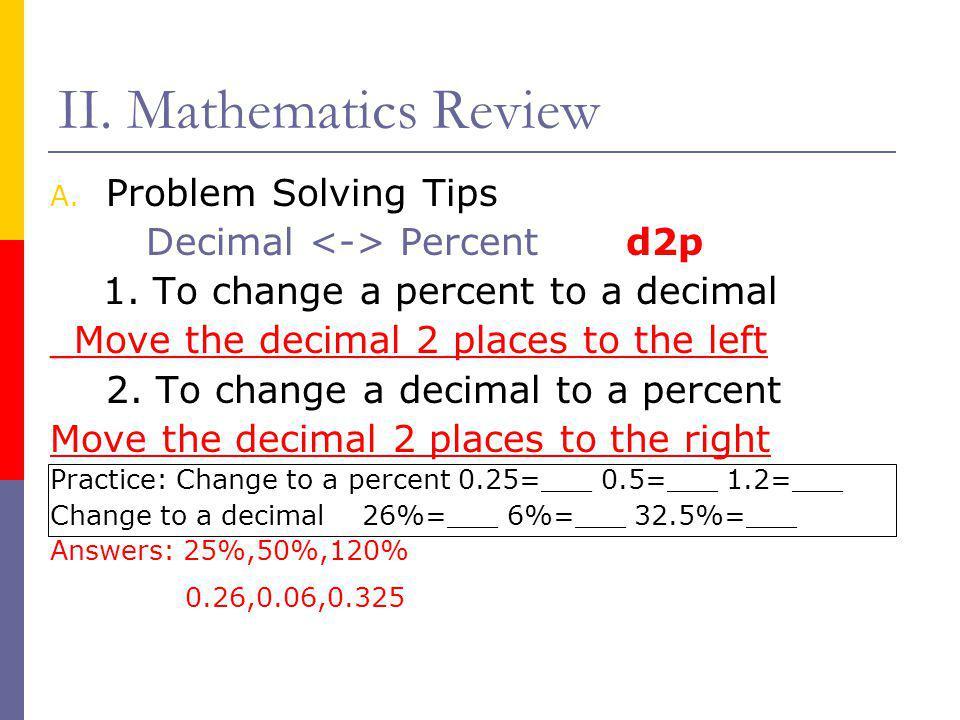 II. Mathematics Review Problem Solving Tips