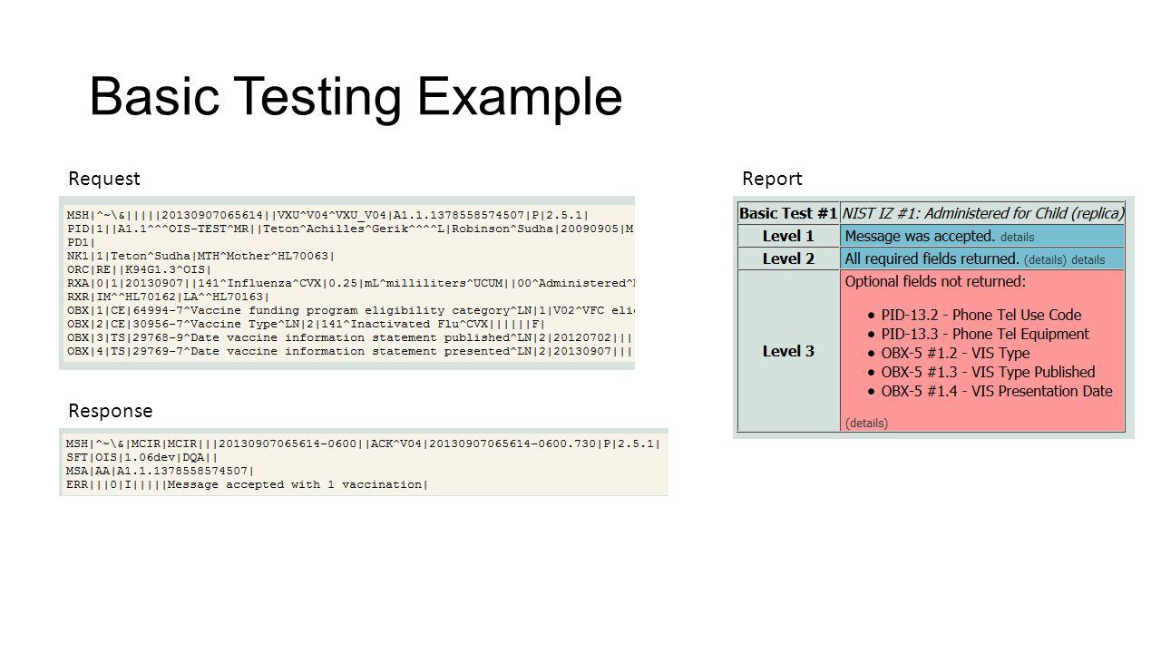Basic Testing Example Request Report Response