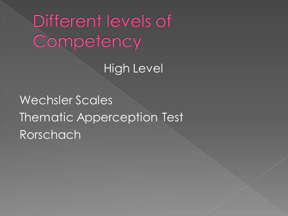 Different levels of Competency
