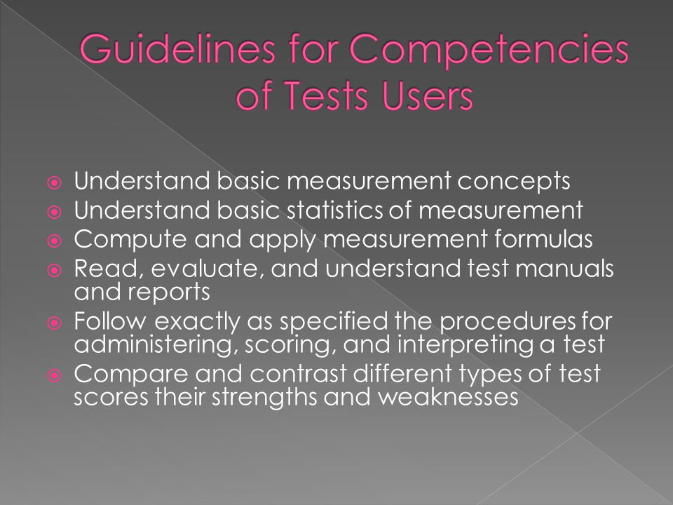 Guidelines for Competencies of Tests Users