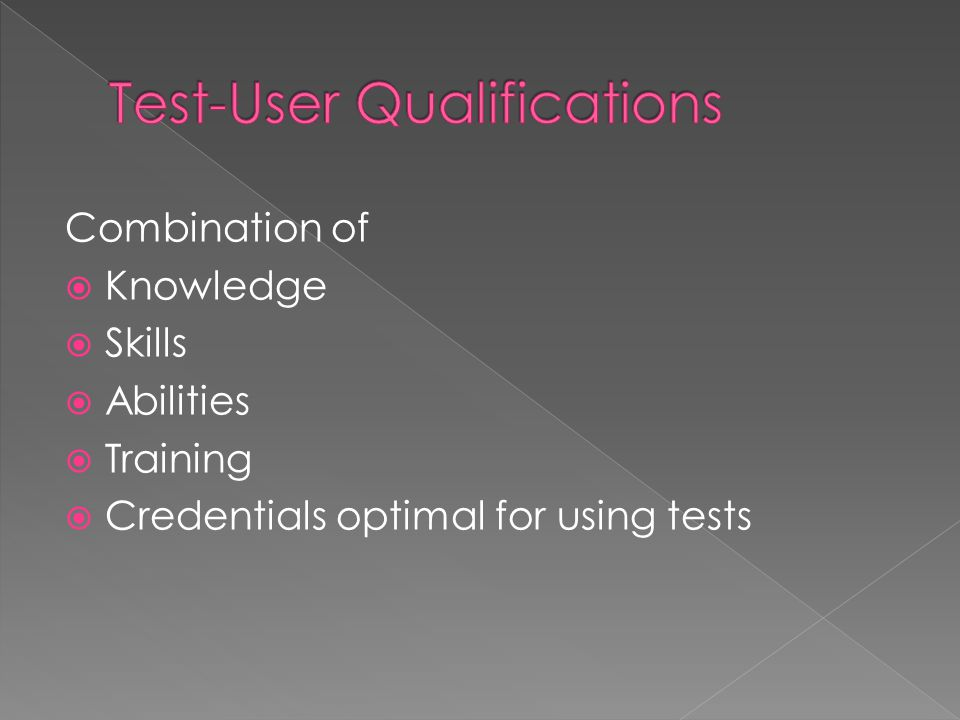 Test-User Qualifications