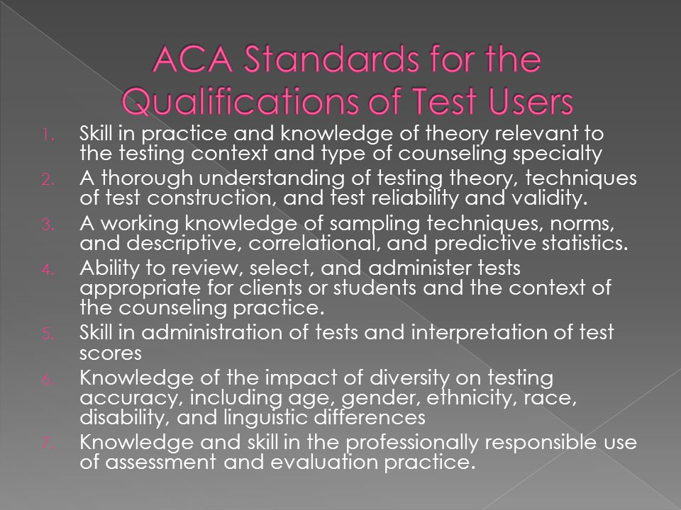 ACA Standards for the Qualifications of Test Users