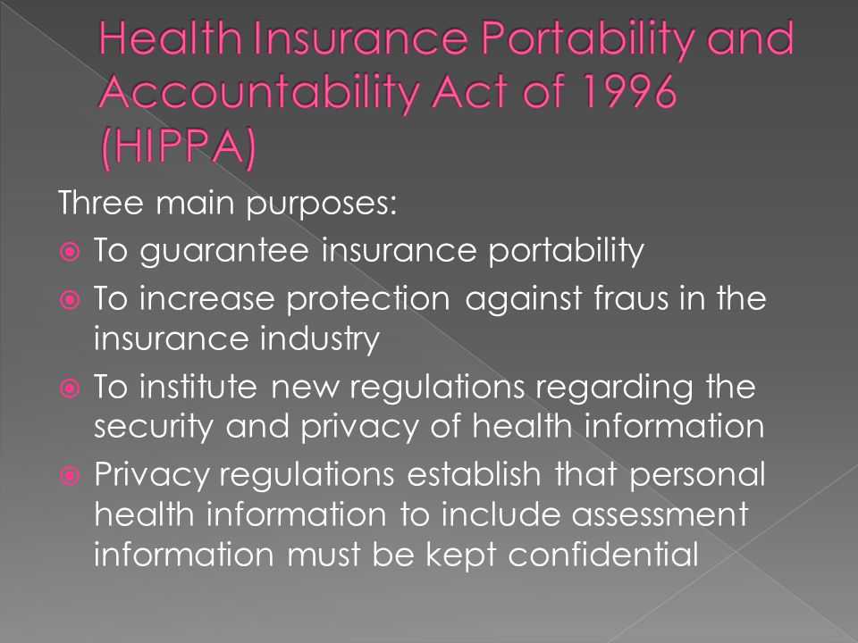 Health Insurance Portability and Accountability Act of 1996 (HIPPA)