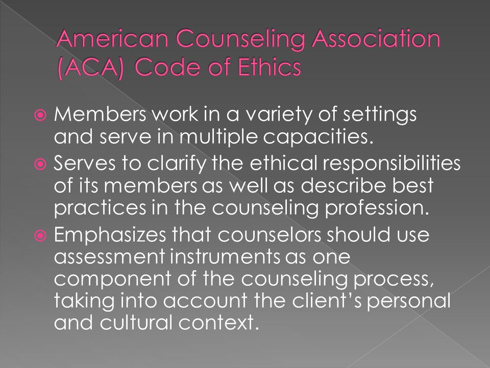 American Counseling Association (ACA) Code of Ethics