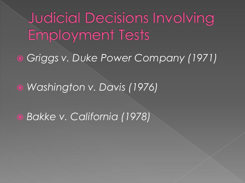 Judicial Decisions Involving Employment Tests