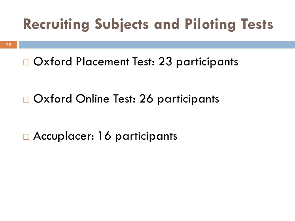 Recruiting Subjects and Piloting Tests