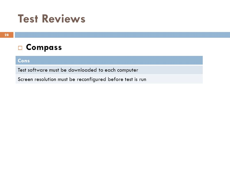 Test Reviews Compass Cons
