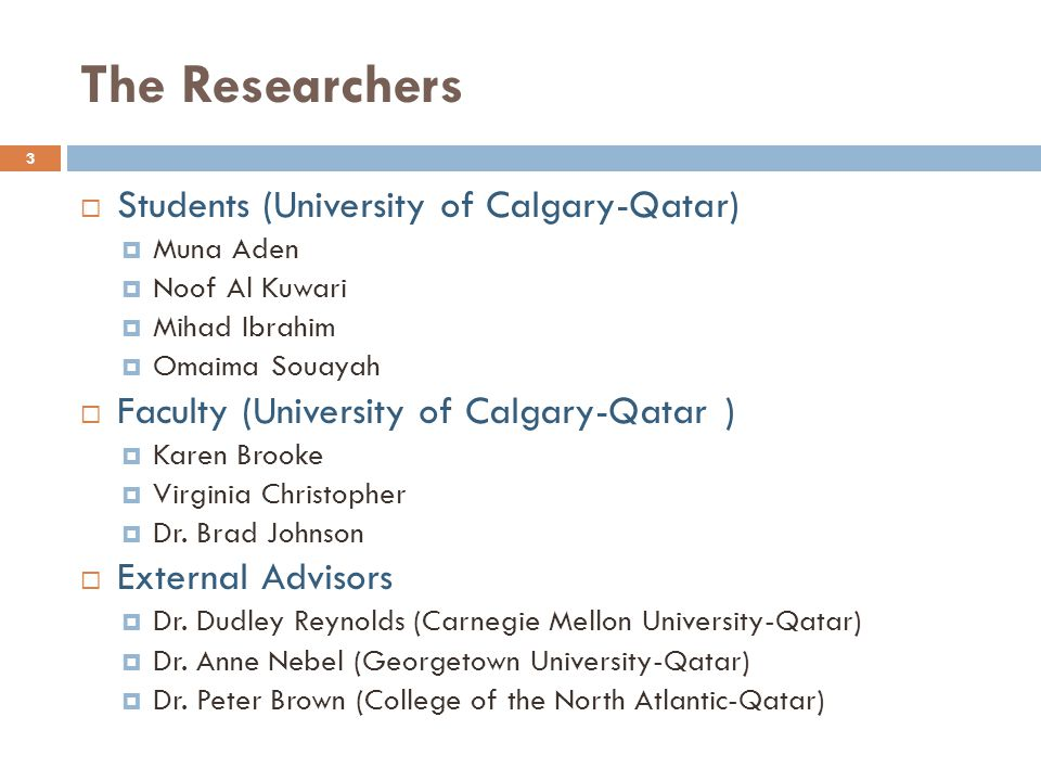 The Researchers Students (University of Calgary-Qatar)