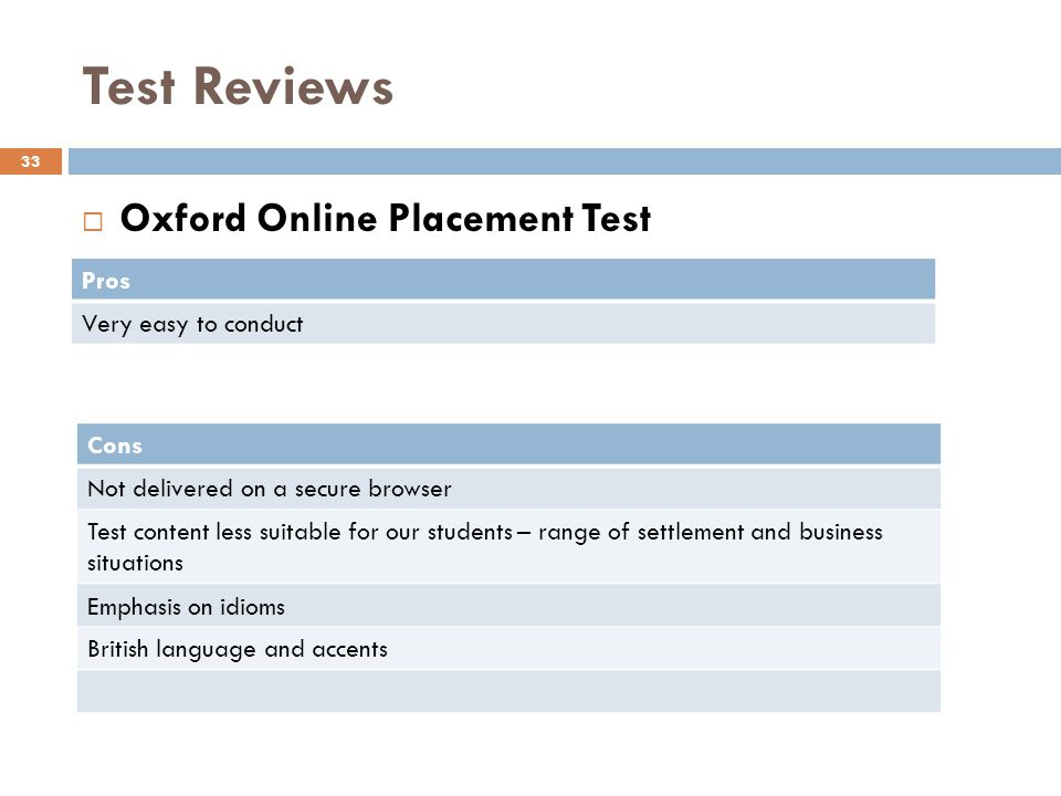 Test Reviews Oxford Online Placement Test Pros Very easy to conduct