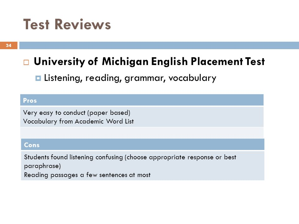 Test Reviews University of Michigan English Placement Test