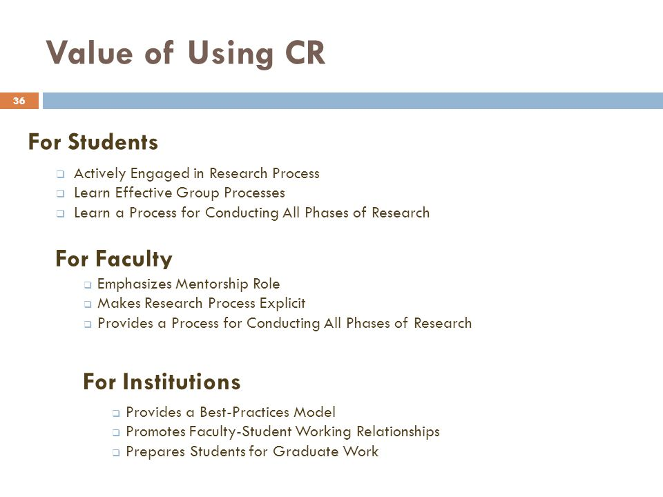 Value of Using CR For Students For Faculty For Institutions
