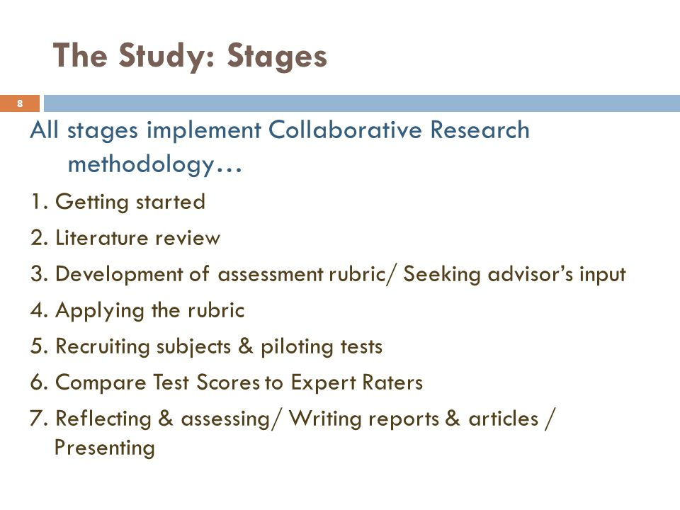 The Study: Stages All stages implement Collaborative Research methodology… 1. Getting started. 2. Literature review.