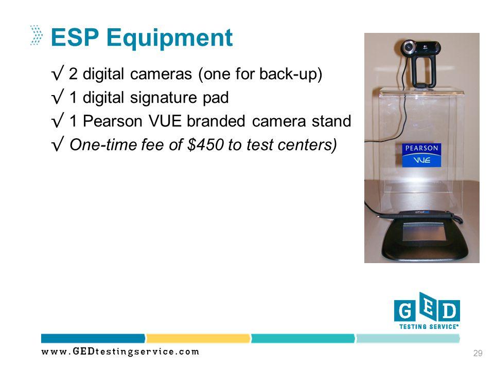 ESP Equipment 2 digital cameras (one for back-up)