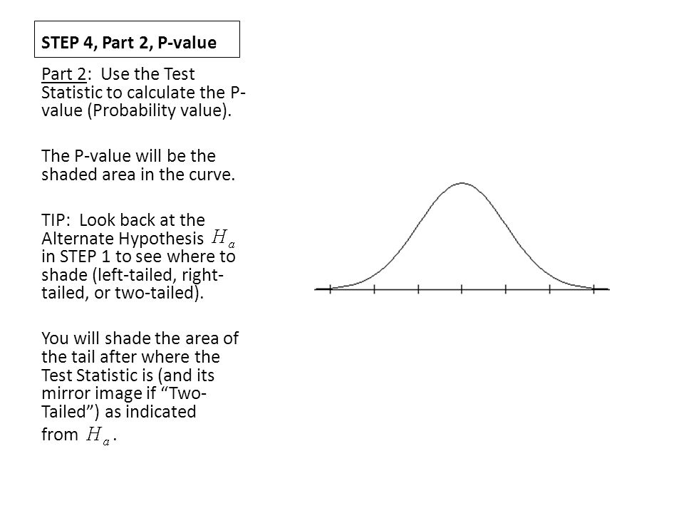 STEP 4, Part 2, P-value Part 2: Use the Test Statistic to calculate the P-value (Probability value).
