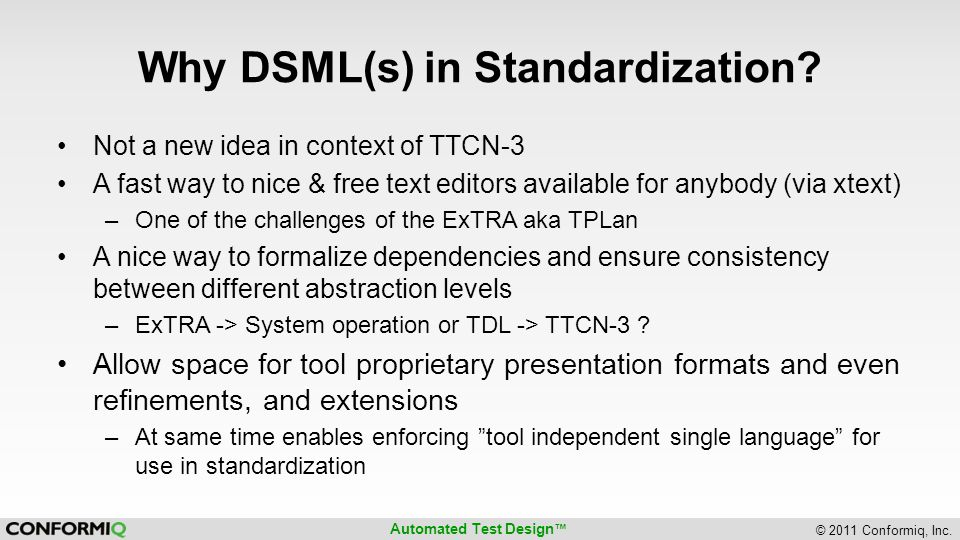 Why DSML(s) in Standardization