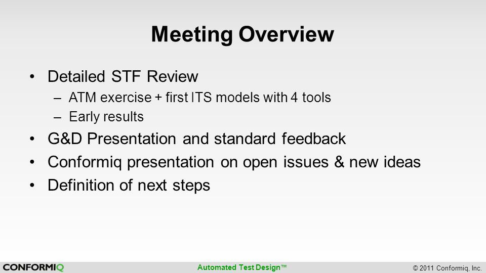 Meeting Overview Detailed STF Review
