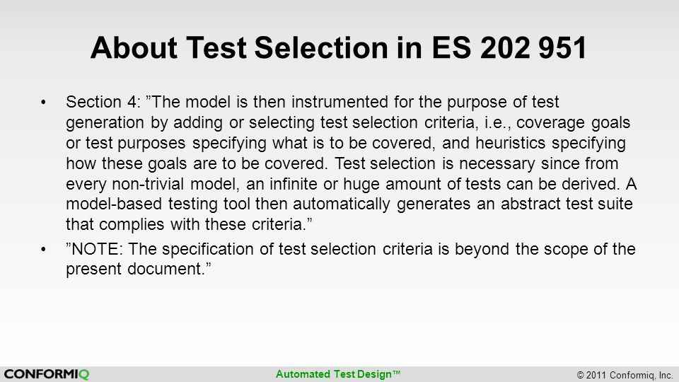 About Test Selection in ES 202 951
