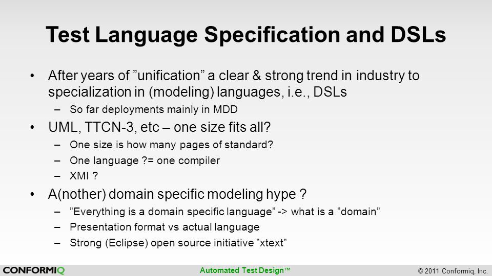 Test Language Specification and DSLs