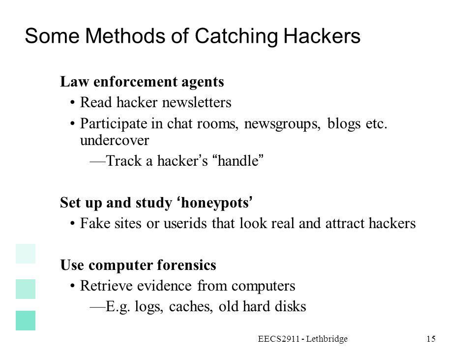 Some Methods of Catching Hackers