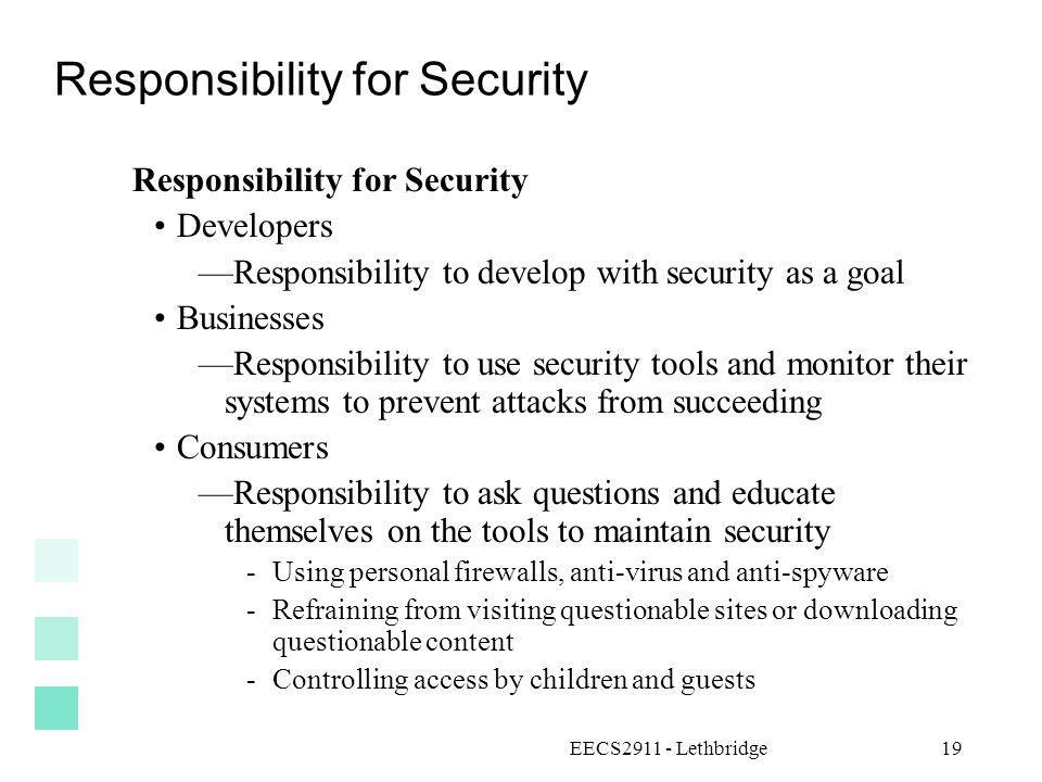 Responsibility for Security