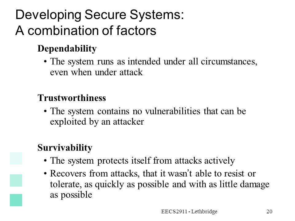 Developing Secure Systems: A combination of factors